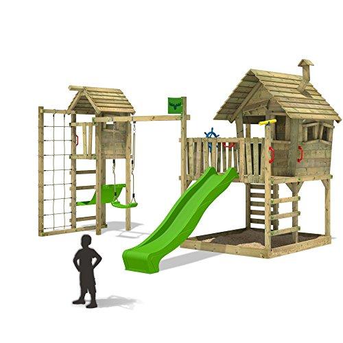 FATMOOSE Stelzenhaus WackyWorld Mega XXL Spielturm Kletterturm mit großem Sandkasten Schaukel Spielhaus auf Podest Veranda Rutsche und Turmanbau