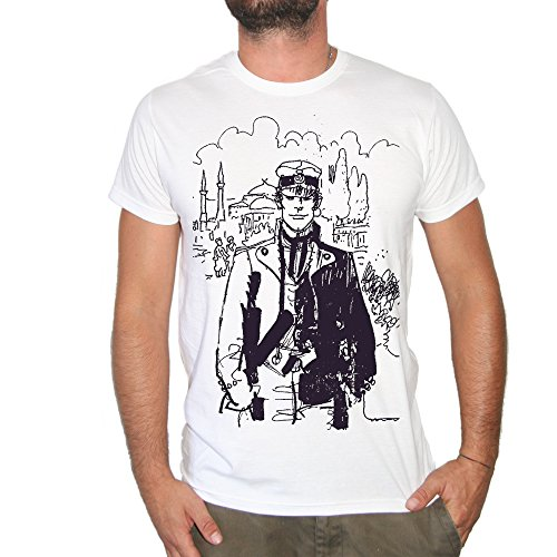 Brain Factory Camiseta Corto Maltés Dibujo Dibujo-by, Blanco, Large