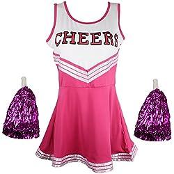 Disfraz Animadora Outfit Uniforme High School Musical disfraz Con Pompones 6Colores–5Tamaños a elegir, Skort, Mujer, color rosa, tamaño 42