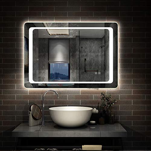 AicaSanitär LED Badspiegel 80×60 cm 6400K Kaltweiß, Touch, Anti-Beschlag Mond Serie Wandspiegel