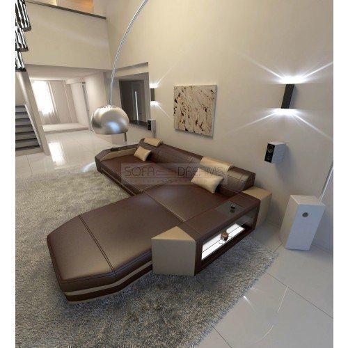 Canapé en cuir Prato L- forme brun foncé beige sable Super Canapé d'angle avec éclairage LED