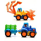 #7: Playking Happy Engineering Unbreakable Automobile Car Toy Set, Multicolor - Bulldozer and Farmer Tractor