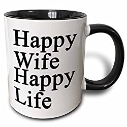 3dRose mug_218585_4 Happy Wife Happy Life Black Two Tone Black Mug, 11 oz, Black/White