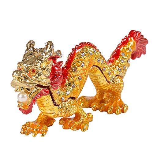 micg caja de dragón asiático, pintado a mano animal figura de colección de la carpeta de soporte