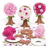 """Pompon-Bastelsets """"Blühender Baum"""" für Kinder als Bastel- und Deko-Idee zum Gestalten für Jungen und Mädchen (3 Stück)"""