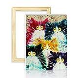 decalmile Pintura por Número de Kits DIY Pintura al óleo para Adultos Niños Cabeza de Gato Colorido 16'X 20' (40 x 50 cm, Marco de Madera)