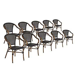 stapelst hle im 10er set von maco bistrost hle alu rattan bamboo optik schwarz. Black Bedroom Furniture Sets. Home Design Ideas