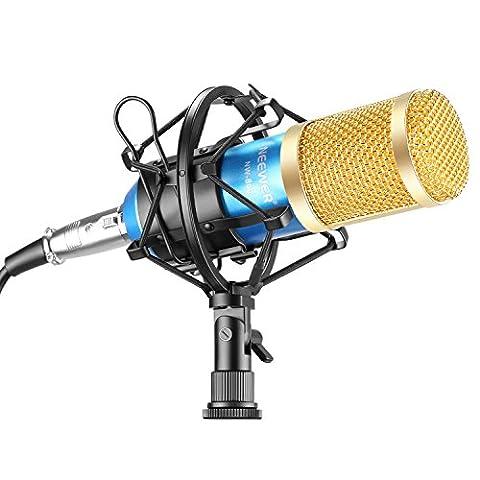 Neewer® NW-800 Microphone Micro Condensateur Professionel Enregistrement Studio Radio Kit comprenant (1) NW-800 Microphone à Condensateur + (1) Support de Microphone + (1) Bouchon Anti-Vent en Mousse + (1) Câble d'alimentation pour Microphone (Or Bleu)