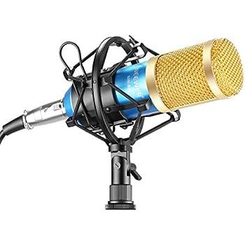 Neewer® NW800 Professionelle Studio Rundfunk & Aufnahme Mikrofon Set inklusive: (1) NW800 Professionelle Kondensator-Mikrofon + (1) Mikrofon Erschütterungsabsorber + (1) Kugel-Typ Anti-wind Schaum Kappe + (1) Mikrofon-Stromkabel (Blau)