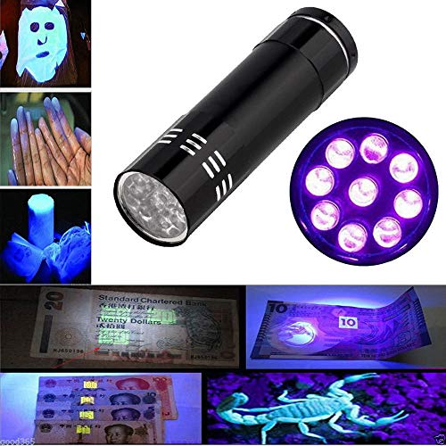 TiooDre Antorcha UV, 9 LED 395nm linterna ultravioleta