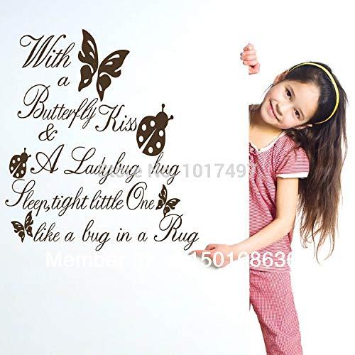 Ebay/Amazon, das mit einem Schmetterlings-Kuss-Vinylwand-Kunst-Anführungsstrich-Aufkleber für Kind-Mädchen-Raum-Dekor, Q0021 verkauft