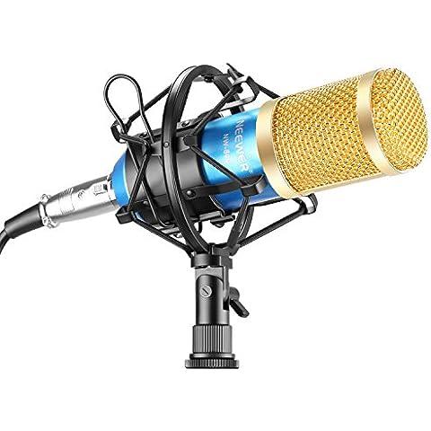 Neewer® Juego profesional de micrófono para estudio de transmisión y grabación. Incluye un (1) micrófono profesional de condensador NW-800 + una (1) montura antivibratoria + una (1) cubierta de espuma antiviento tipo bola + un (1) cable de alimentación (azul).