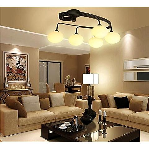 NASEN candelabro de techo Plancha loft Café American salón-dormitorio lámpara de techo de hierro araña de techo de vidrio redondo de 5 , 5 jefe luz cálida (con fuente de luz de ahorro de