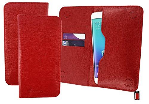 Emartbuyu00ae Rot Echtes Kalbsleder Magnetisch Schlank Brieftasche Tasche Sleeve Halter (Größe 5XL) Geeignet Für Creev Mark V Plus 4G LTE Smartphone 5.5 Zoll