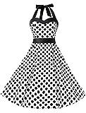 KUONUO Damen Kleider Sommer Rockabilly 50er Vintage Retro Neckholder Kleid Petticoat Faltenrock Weißer Punkt S