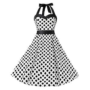 KUONUO Donne 1950's Audrey Hepbun Vintage con allacciatura al collo di polka dots cocktail vestito