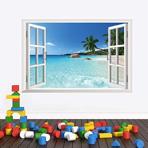 QIFDSVD Wandaufkleber New Sea View 3D False Windows Bedroom Background Of Waterproof Removable Paster -