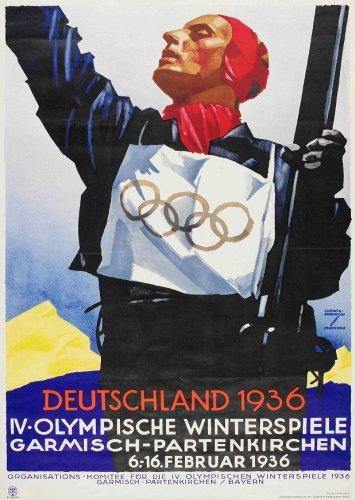 Vintage Olympischen Spiele 1936Deutschland 250gsm, Hochglanz, A3, vervielfältigtes Poster