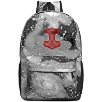 BagMothe Viking Hammer Norse School Backpack Space Galaxy Book Bag Student Fashion Bags for Boys Girls Capacity 20-35 L