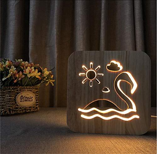 Layyyqx Schwan Schwimmen Holz 3D Illusion Lampe Carving Led Nachtlicht Usb Schreibtisch Tisch Für Kinder Geschenk Dekoration