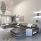 Schlichter Möbel Wohnmöbel Sofagarnitur Polstergarnitur Designsofa Sofa Kalmar U Schwarz-Weiß