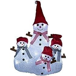 Familia Muñeco Nieve Luces LED Decoracion Navidad 32 LED 25x20x34 cm Largo x Ancho x Alto