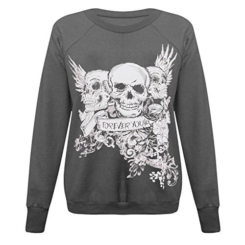 Forever Young-Parrucca da donna, con maniche lunghe, da donna, motivo: teschio Halloween, 8-22 Jumper Felpa Charcoal - Skeletons Skull Bone