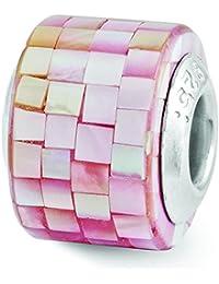 Broche de plata de ley Reflections madreperla rosa cuenta de Mosaic - JewelryWeb