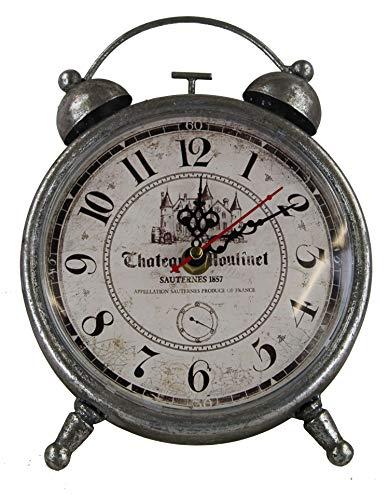 GMMH Tischuhr Nostalgie Antik Vintage Retro Metall Standuhr Dekowecker Uhr in Wecker Design (18-9 Silber)