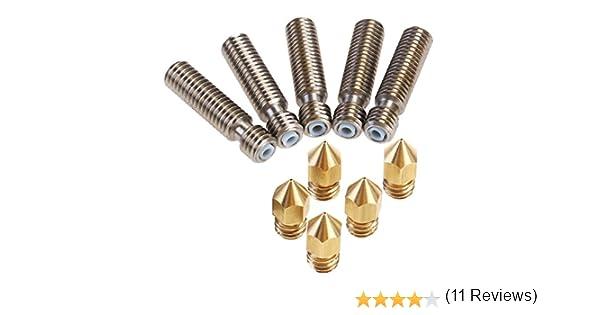 30mm 40mm IZOKEE Lot de 5 Pi/èces Buses dExtrusion en Laiton 0,4mm et 5 Pi/èces Gorge de Buse en Acier Inoxydable 1,75 x 26mm 50mm pour Imprimante 3D RepRap MK8 de MakerBot