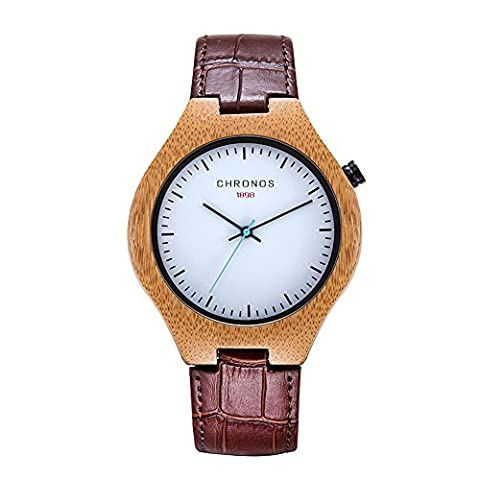 CHRONOS Mens Wooden Quartz Wrist Watches With Red Genuine Leather Band White Dial Analog Display