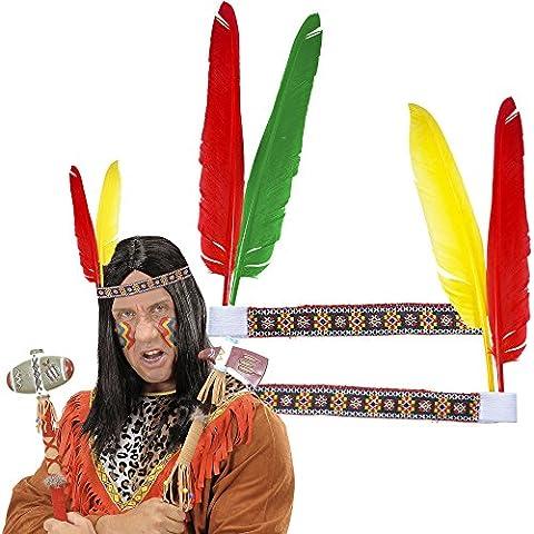 4 Stirnbänder * INDIANER * mit Federn // tolle Verkleidung für Kindergeburtstag, Motto-Party oder Karneval // Haarband Kostüm Wilder (Kostüm-party-einladung Für Kinder)