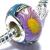 Charm Buddy Charms Perle Acryl Gelb Blau Lila mit stylishem Fimo versilbert für Pandora Troll Charm Armbänder