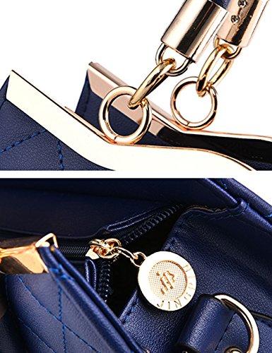 Menschwear Leather Tote Bag lucida PU nuove signore borsa a tracolla Nero Blu