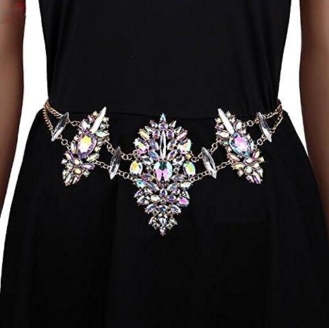 Cristal De La Chaîne Du Corps Bikini Complet Alliage Diamant à Faible Chaîne De Taille Accessoires Maillot De Bain Plage Chaîne Griffe Périmètre: 51 Cm (inclus) -80cm (inclus),1-OneSize