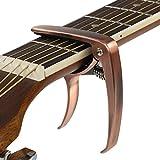 JRing Capodastre pour Guitare Acoustique, Guitare Électrique, Ukulélé, Banjo et Mandoline, Une Seule, Changement Rapide (Alliage de Zinc, Bronze)