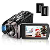 Video Camera Camcorder Kenuo Full HD 1080P Digital Camera Vlogging Camera For YouTube 16X Digital Zoom 3.0'' LCD 270 Degree Rotation Screen With 2 Batteries