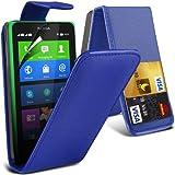 (Blau) Nokia X Custom Designed Stilvolle Accessoires zur Auswahl Schutzmaßnahmen Kunst Credit / Debit-Karten-Leder Flip Case Hülle & LCD-Display Schutzfolie von Hülle Spyrox