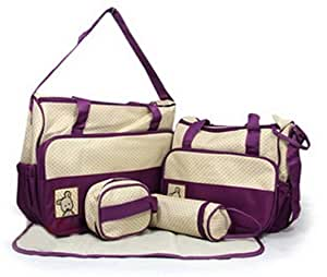 ZLLZ Pack of 5pcs Baby Nappy Diaper Tote Shoulder Chaning Waterproof Bag Set-Main Bag+Small Bag+Bottle Holder+Chainging Mat+Small Food Bag (Purple)