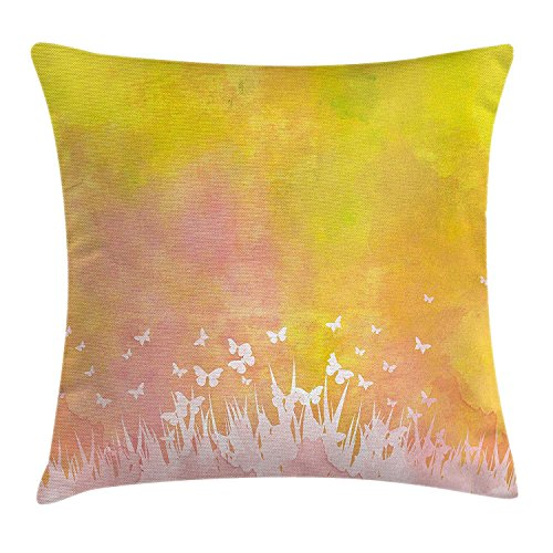 ZTLKFL Watercolor Throw Pillow Cushion Cover, Spring Meadow with Silhouette of Flower Grass and Butterfly Artwork, Decorative Square Accent Pillow Case, 18 X18 Inches, Earth Yellow Light Pink Light Pink Double Sided Satin