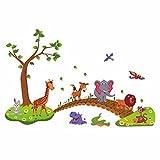 HCCY Cartoon Simpatici Animali Ponte di Legno Carta da Parati camere per Ragazzi sulle pareti degli Ornamenti Kindergarten Poster 135 * 86cm, Colore Immagine