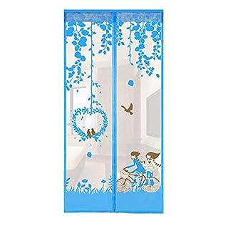 Ajusen Magnet Mosquito Net Summer Anti-mosquito Mesh Curtains Soft Yarn Door Window Screen Keep Fresh AIR 110 x 210 cm (Blue)