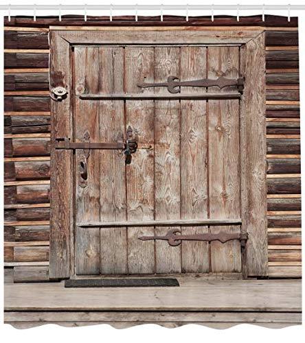 ABAKUHAUS Rústico Cortina de Baño, Puerta Rústica de Madera en Vieja Cabaña de Troncos Entrada de Edificio Abandonado, Material Resistente al Agua Durable Estampa Digital, 175 x 200 cm, Marrón