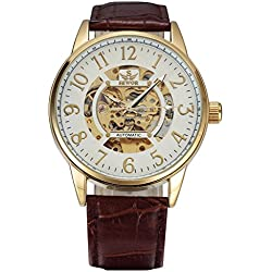 Men, mechanical watches, automatic, casual, personality, PU leather, W0222