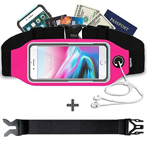 smartlle Sport Laufgürtel, Laufen Gürteltasche wasserdichte Hüfttasche Reflektierenden für Handy iPhone XS MAX, 8, 7, 6 Plus, Samsung S9/S8+, S6 Edge +, Running Belt für Frauen & Männer (Rosa) -