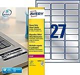 Avery 540 Etiquettes Autocollantes Ultra-Résistantes Métalliques - 63,5x29,6mm - Impression Laser (L6011)
