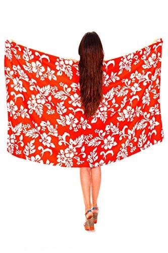 Funky Hawaii Sarong | Pareo Cover-Up | Einheitsgröße | Damen | Hibiskus Blumen Blätter | Multiple Farben Orange