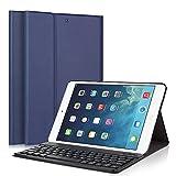 iPad 5/6/iPad 9.7' 2017 Clavier cas, LUCKYDIY Ultra Slim + couvercle du support Magnetical détachable clavier sans fil Bluetooth pour Apple iPad Air1 / Air2 / nouvel iPad 9,7 pouces 2017 (iPad 5/6/8, Bleu foncé)