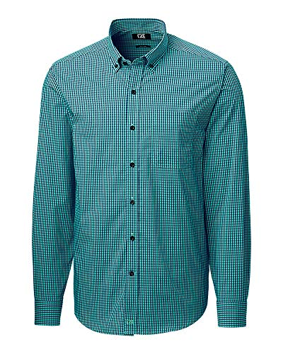 Cutter & Buck Herren Long Sleeve Anchor Gingham Up Shirt Button Down Hemd, Fresh Mint, Klein -