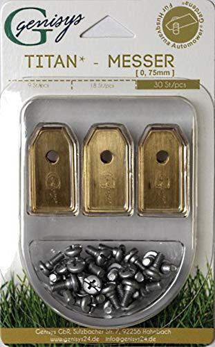 30x TITAN Ersatz Messer Klingen für Husqvarna Automower / Gardena Mähroboter (longlife | 0,75 mm | 3 g) + 30x ELOXIERTE Schrauben NEU